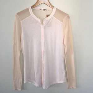 Michael Stars Luxe Slub Long Sleeve Button Down OS